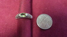 Beautiful Oval Green CZ Marcasite Band Ring Real Sterling Silver *Size 7* F349