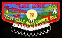TEJAS OA LODGE 72 EAST TEXAS AREA COUNCIL TX BSA SERVICE FLAP OLD MINT