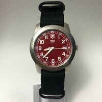 Swiss Army Mens Dial Red Date Indicator Quartz Analog Renegade Field Wristwatch
