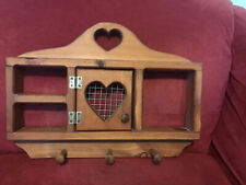 Vintage Country Wooden Heart Shelf Display 3 Pegs