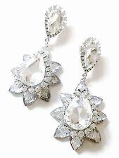USA EARRING Clear Rhinestone crystal gemstone Dangle flower drop Bridal Silver 2
