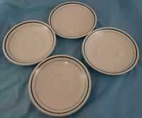 Set of 4 Saucers Mohawk China White Avocado Green Ring Dinnerware