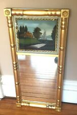 Antique Federal Gilt Wood Mirror with Reverse Painting Sailing c1820