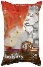 Bolsius Tealights 8 Hour Burn Time - White Tea Lights - 50 Pack