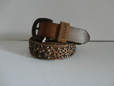Replay 'AX2089' Brown leather studded thin belt S
