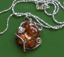 """NATURAL FRESHWATER SHELL 14KT WHITE GOLD PLATED PENDANT WITH FREE 925 CHAIN!1.5"""""""