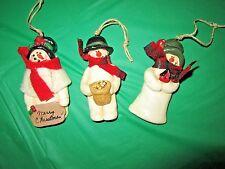 """3 Handmade signed Mary Calehuff 1999 Cute Resin/ Ceramic? Snowmen Ornaments 3"""""""