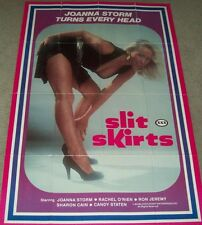 """AUTHENTIC ADULT RARE MOVIE POSTER FROM 1983, JOANNA STORM, """"SLIT SKIRTS""""."""