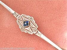 ANTIQUE ART DECO .02ctw ROSE DIAMOND SAPPHIRE 18K GOLD & PLATINUM BAR PIN 1930