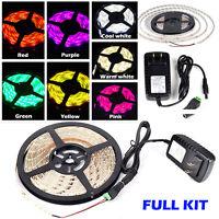 5M 12V Waterproof 300 LED RGB Strip Light 3528 SMD Lamp Ribbon Tape Roll KIT US