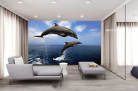 3D Dolphins Leaping Self-adhesive Decor Wallpaper Wall Mural Sticker Waterproof