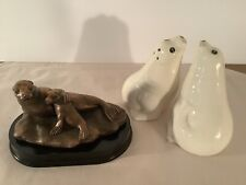 Bronze Figurine Momma and Baby Sea Lion Seal Plus 4� Salt/Pepper Shakers