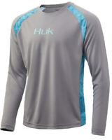 Huk Men's Strike Solid Grey Large Long Sleeve Shirt