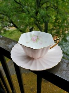 SPECTACULAR AND RARE SHELLEY TEACUP AND SAUCER SOFT PINK WITH ROSES