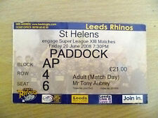 Rugby Match ticket - 2008 engager Super League XIII-Leeds Rhinos-St Helens