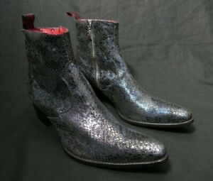 JEFFERY-WEST 'MUSE' Blue Metallic Snake effect SIXX western Zip Boot UK 8