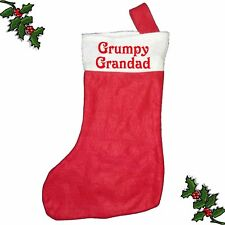 GRUMPY GRANDAD Xmas Santa Stocking Printed Festive Father Christmas Customised