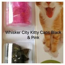 💅🏽Whisker City Kitty Caps Nail Caps Pink & Black w/ Glitter (Small) 6-8lbs💅🏽