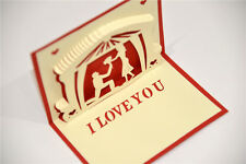 Handmade 3D Pop Up I Love You Propose Marriage Romantic Red Card