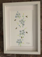 Bumble Bees, Original Signed Watercolour Painting, Framed/ Gift Wrap