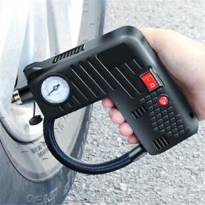 12V Handheld Mini Electric Car Air Pump Compressor Inflator Safety Hammer Light