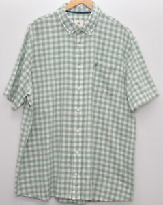 Johnnie O Size XXL Button Up Shirt Hangin' Out Green White Check Short Sleeve