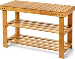 Bamboo Shoe Rack Bench 3-Tier Shelf Organizer Holds up to 220 lbs FREE-SHIPPING