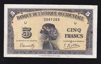 FRENCH WEST AFRICA ----- 5  FRANCS  1942 ---- F/VF -----