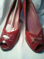 AMANDA SMITH PEEP TOE LEATHER PUMPS WOMEN'S SHOES size 8.5 NEW in box RED
