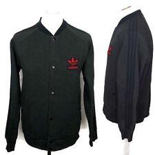 TEAM ADIDAS Grey Popper Varsity Jacket Size Large Men's Sweatshirt Trefoil Top