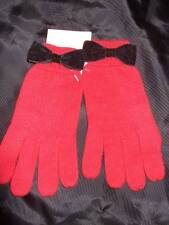 NWT ~ Gymboree HOLIDAY PANDA red knit gloves black velveteen bow girls 8 9 10 12
