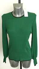 Ladies M&S Per Una Sizes 14 16 18 Ribbed Stretch Long Sleeve Jumper Evergreen