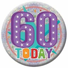 Holographic Happy 60th Birthday Badges 60 Today Party Accessories