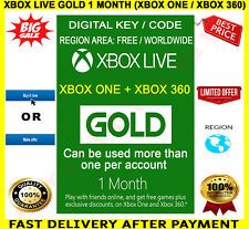 Xbox Live Gold 1 Month Membership 🔑 Digital Code Key 🌏 Xbox One / Xbox 360