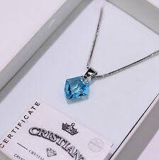 Blau Anhänger Original Swarovski Elements Kette Damen-Geschenk Halskette