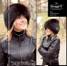 Original Russian Fur Hat Knitten Beanie Base Rare Exclusive Design BROWN Fox NEW