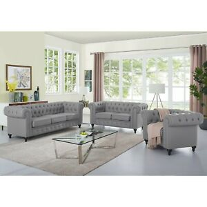 Naomi Home 3 Piece Emery Chesterfield Sofa Set with Rolled Arms, Tufted Cushions