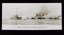 Glass Magic Lantern Slide KONIGIN LUISE SINKING 1914 DRAWING WW1 SHIP MINE LAYER