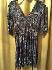Black & Grey Leopardskin Circle Dress V-Neck V-Back Animal Print UK 10 EUR 38