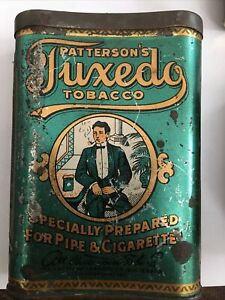ANTIQUE TUXEDO  PIPE CIGARETTE TOBACCO TIN LITHO VERTICAL POCKET CAN