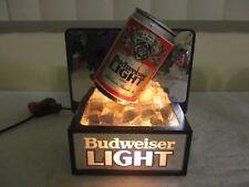 Vtg 3D Budweiser Lite Beer Can Mirror Sign Topper Lighted Tavern Advertisement