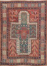 Pre-1900 Antique Vegetable Dye Tribal Kazak Caucasian Area Rug Shirvan Wool 5x7