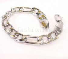 fashion1uk Mens White Gold Plated 22.5cm Chunky Hippo Heavy Classic Bracelet
