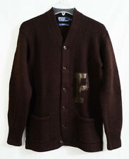 Vintage Polo Ralph Lauren Varsity P Brown Wool Knit Sweater Cardigan size Small