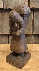Occupied Forces Brought Back Folk Art Wood Carving Sculpture German Women Munich