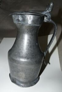 18 Century Antique Pewter Tankard With Lid ,Rose Mark,French?