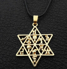 Gold Plated Jewish Star of David Hexagram Talisman Amulet Pendant Necklace
