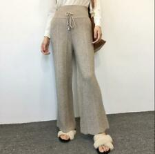 Womens Cashmere Knitted Flared Pants High Waist Casual Trouser Elegant Ol Pants