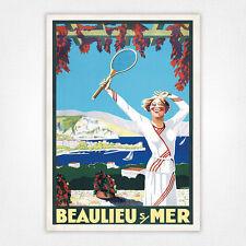 Vintage skiing travel ski poster - A4 - Beaulieu sue Mer Tennis