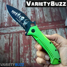 ZOMBIE HUNTER TACTICAL GREEN ASSISTED OPENING KNIFE Folding Pocket Rescue Blade